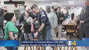 California's Governor Serves Meals In Tom Brady Jersey After Losing Super Bowl Bet [Video]