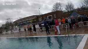 TOWIE's James Argent leaps into icy lido for charity [Video]