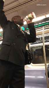Man yells on subway train uses a bottle of cranberry juice as a microphone [Video]