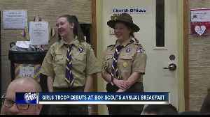 Boy Scouts' new girls troop raises funds for camping supplies [Video]