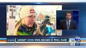 Lindsey Vonn wins bronze in final race of her skiing career [Video]
