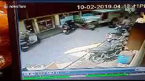 Mother and baby miraculously escape after jeep knocks them down on busy street [Video]