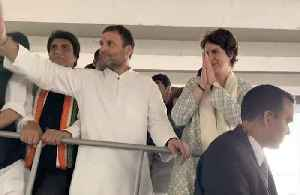 News video: Priyanka Gandhi's mega Lucknow roadshow; brother Rahul  Gandhi by her side
