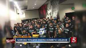 Raising awareness of domestic violence at Preds game [Video]
