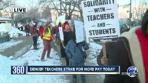 Denver teachers picket at South High School on first day of strike [Video]