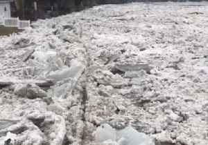 Ice Chunks Build Up on the Banks of the Kankakee River [Video]