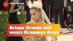 Ariana Grande Wears Her Grammy Dress At Home [Video]