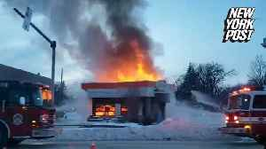 Watch this fast-food drive-through go up in flames [Video]