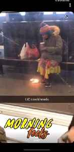 Woman sits on bench and starts small fire in subway station to stay warm [Video]