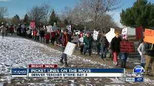 Teachers continue to picket on Day 3 of Denver teachers' strike as sides work towards deal [Video]