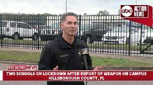 New Conference: Two Hillsborough Co. schools on lockdown after report of weapon on campus [Video]