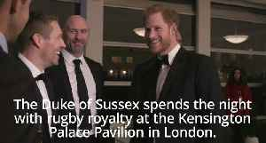 Prince Harry mingles with rugby royalty at charity event [Video]