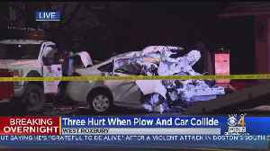 3 Hurt, Car Destroyed In Collision With Plow In West Roxbury [Video]