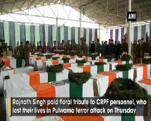 Pulwama terror attack Rajnath Singh pays floral tribute to CRPF personnel in JKs Budgam [Video]