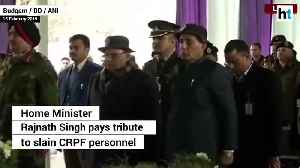 Pulwama attack Rajnath Singh helps carry coffin of CRPF jawan in Kashmir [Video]