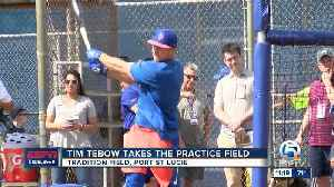 Tim Tebow reports to Spring Training [Video]
