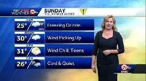 After freezing drizzle ends, Sunday will be cold, windy [Video]