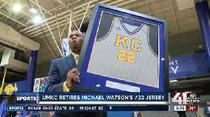 UMKC basketball retires Michael Watson's jersey number [Video]