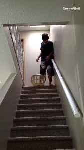 Guy slides down his stairs in a laundry basket and falls down stairs [Video]