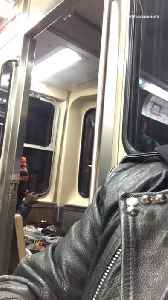 Man in orange and black beanie smokes on the back of subway train [Video]