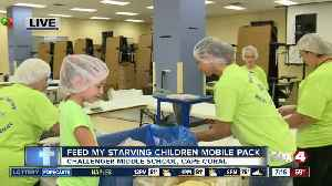 Feed My Starving Children holds mobile meal pack at Challenger Middle School - 7am live report [Video]