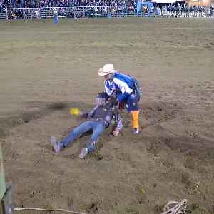 "Dylan ""da villain"" goes bull riding falls off and gets stepped on by bull [Video]"