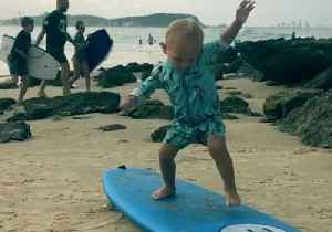 Cute Toddler Practices His Surfing Moves on Dry Land [Video]