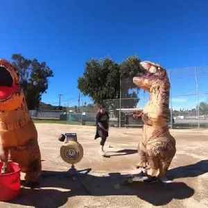 Guy in T-Rex Costume Gets Hit in Crotch with Baseball [Video]