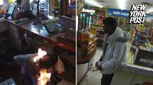 Convenience store psycho duct-tapes woman and lights her on fire [Video]