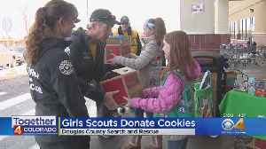 Girl Scout Donate Cookies To Search & Rescue Members [Video]