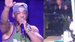 Giannis Antetokounmpo DISRESPECTS Ja Rule, Starts Shooting During His Halftime Performance! [Video]