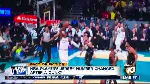 NBA player's jersey number changed after dunk? [Video]