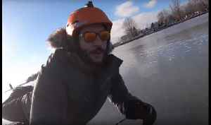 Vlogger Gets His Skates on for Some Fun on Frozen Lake in Quebec [Video]