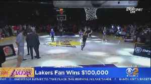 Lakers Fan Sinks Half-Time, Half-Court Shot To Win $100K [Video]