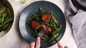 Butter-Basted Scallops with Sugar Snaps [Video]