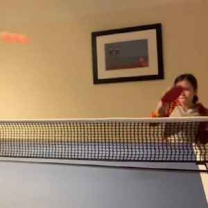 Little Girl Practices Skills in Table Tennis [Video]