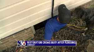 Restoration crews busy after flooding. [Video]