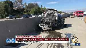 Flatbed truck blows tire, crashes on I-15 [Video]