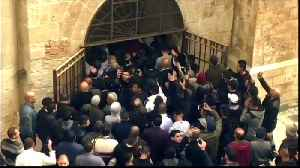 Palestinians reopen Al-Aqsa gate locked by Israel 16 years ago [Video]