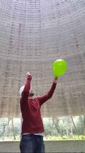 Crazy sounds inside nuclear power plant cooling tower [Video]