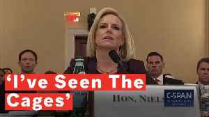 CBP 'Never Purposefully Put' Migrant Children In Cages, Nielsen Testifies Drawing Air Cage With Hands [Video]