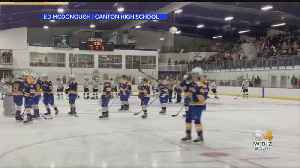 Crowd Finishes National Anthem At Canton-Norwood Hockey Game [Video]