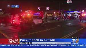 LAPD Pursuit With Stolen Car Ends In Wreck In In Northridge [Video]
