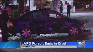 3 Hospitalized After LAPD Pursuit With Stolen Car Ends With Wreck In Northridge [Video]