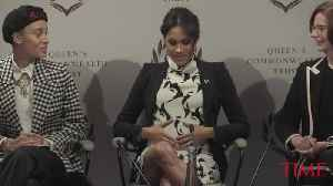 Meghan Markle Talks Baby Bump and 'Embryonic Kicking of Feminism' [Video]
