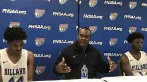 Dillard coach Darryl Burrows and senior DeShawn Bartley discuss Bartley's big shots in the Class 7A state semis [Video]