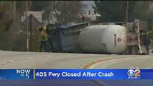 Big Rig Filled With Propane Overturns On The 405 Freeway [Video]