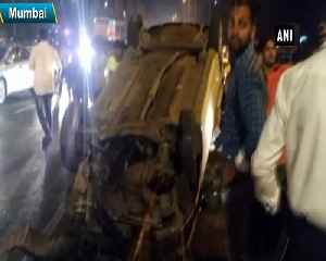 3 injured after car over turns at Western Expressway in Mumbai [Video]