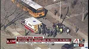 Several taken to hospital after wreck involving school bus, car [Video]