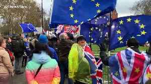 Brexit protesters congregate outside UK parliament as May deal rejected [Video]